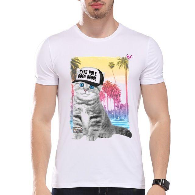 TEEHEART Men's Casual Beach Style Cute Cat Kitty on Vacation Print T-Shirt Men Summer Modal Hipster Tees la286