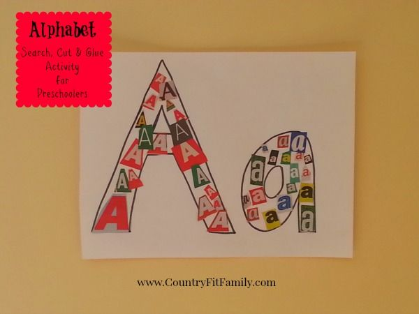 Alphabet Search, Cut & Glue Activity for Preschoolers