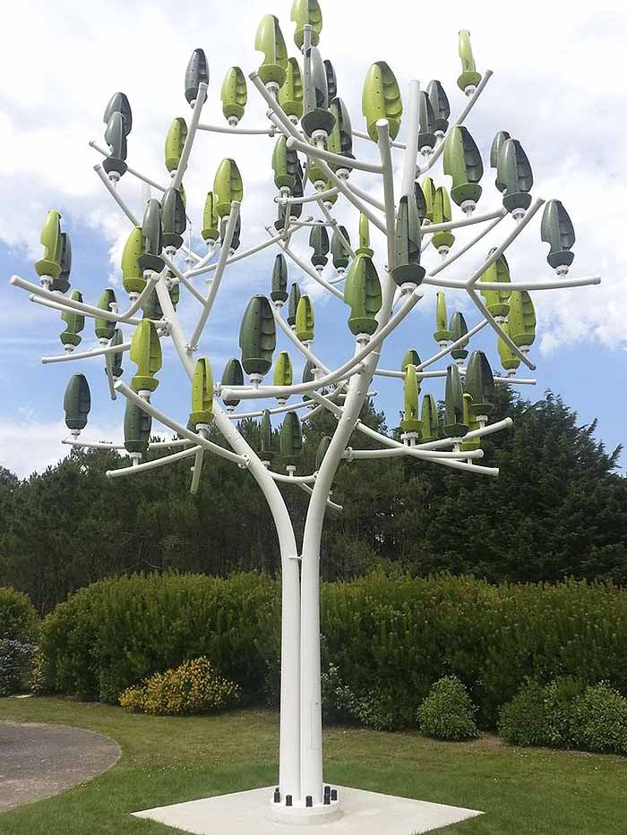 "French company New Wind has created a wind ""turbine"" in the shape of a tree. It's designed for parks, homes, businesses and other small-scale applications. The ""leaves"" harness wind energy even at low winds and don't make noise. We can't wait for these trees to be available commercially for use at homes worldwide!"