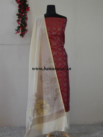 Banarasi Salwar Kameez Cotton Silk Woven Ghicha Jaal Design Fabric With White Dupatta-Deep Red
