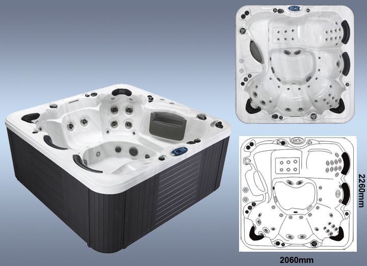 2260 x 2260 x 1000mm hot tub spa with LED waterfall & fountain plus complete audio and free spa cover and steps with each order