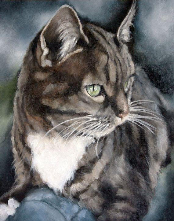 Custom Pet Portrait Animal Portrait Cat Painting  Oil by cmqstudio