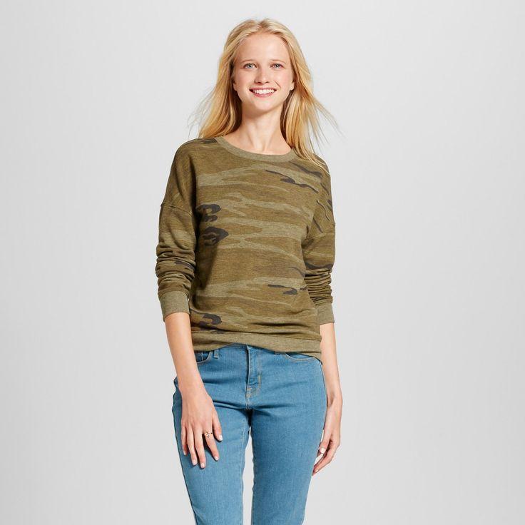 Women's Camo Long Sleeve Sweatshirt - Zoe+Liv (Juniors') - Green XL