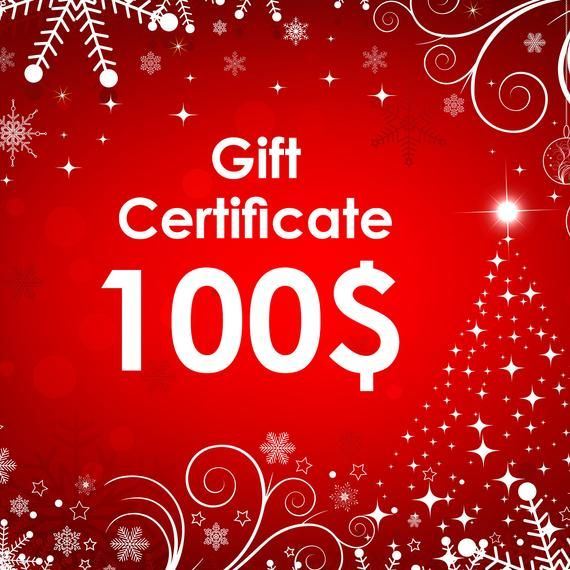 Electronic Gift Certificate For Christmas 100 Usd Gift E Card For