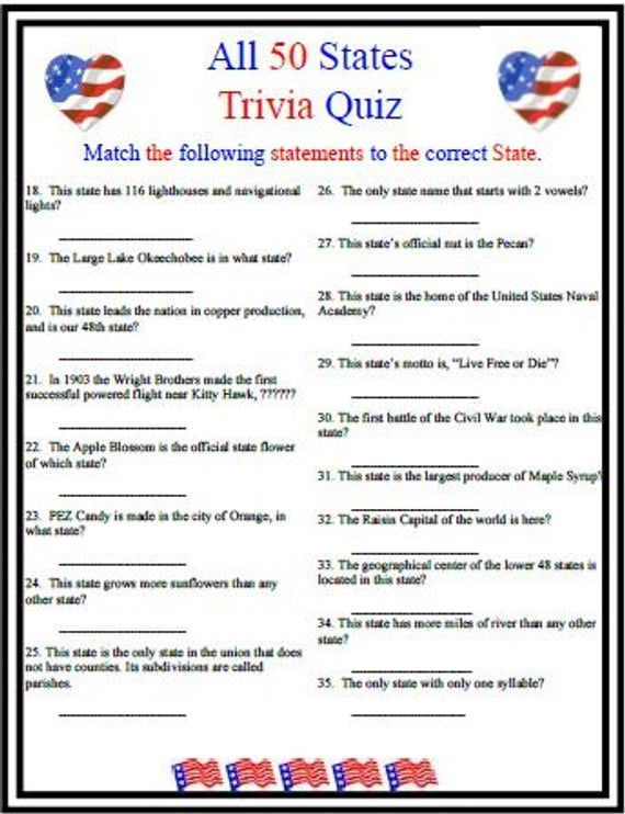 All 50 States Trivia In 2021 Fourth Of July Crafts For Kids 4th Of July Games Trivia Questions And Answers