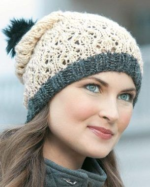 Knitting Pattern for Lacy Hat - This slouchy lace toque style hat with pompom is one of 14 knitting patterns in the Beginner's Guide to Lace Knitting ebook by Rita Weiss. Other patterns include Lace Scarf, Crescent Shawl, Coaster, Heirloom Flower Doily, Scarf of Many Colors, Lacy Hat, Lovely Lace Scarf, Delightful Doily, Lovely Lace Collar Two Ways, Fir Cone Lace, Easy Edging, Lacy Market Bag, Elegant Edging, and Winter Lace Afghan
