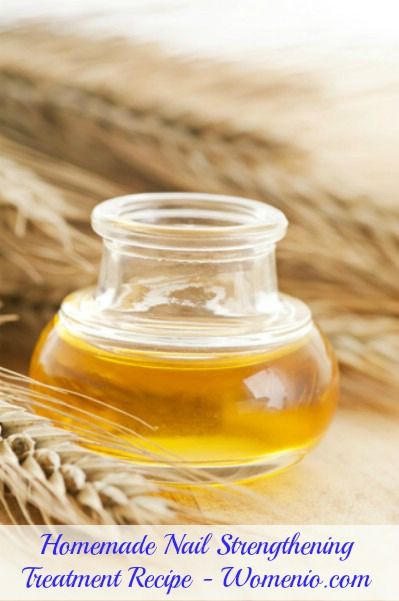 2 teaspoons of salt combined with 1 teaspoon of wheat germ oil and 2 teaspoons of castor oil. This makes about 25 applications so be sure that you have a bottle with a tight fitting lid to store it. Just combine the ingredients, shake well and use a cotton ball to apply to each nail. Leave it there for 5 minutes and then wipe clean with another cotton ball.