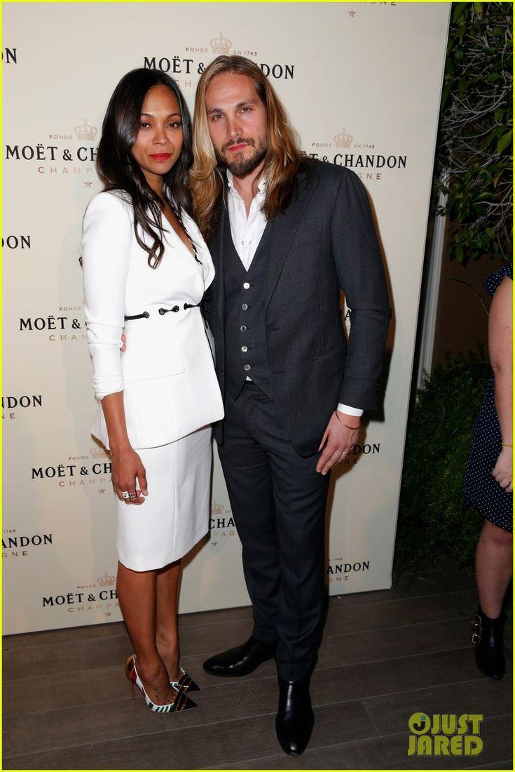 Zoe Saldana and tennis player Roger Federer attend the Moet ...
