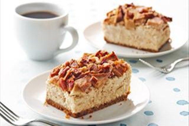 This delectable cheesecake features the fall flavours of sweet apples, crunchy pecans and the perfect touch of cinnamon.  Yes, this is heaven.