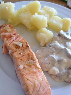 100x100SinGluten: Salmón con salsa e champiñones y patatas
