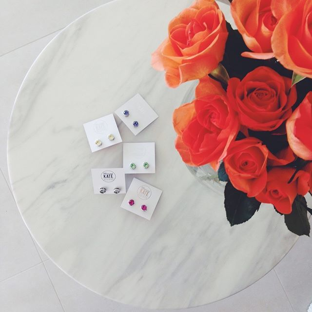 Too pretty to hide! Our colourful studs on show at MKD HQ.  #florals #marble #jewelstuds