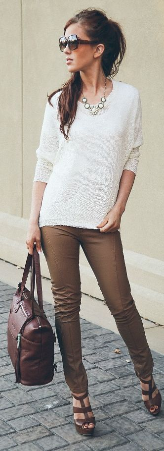 Choies | white sweater + brown pants