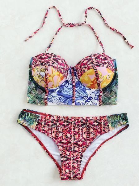 Multicolor Printed Halter Bustier Bikini Set