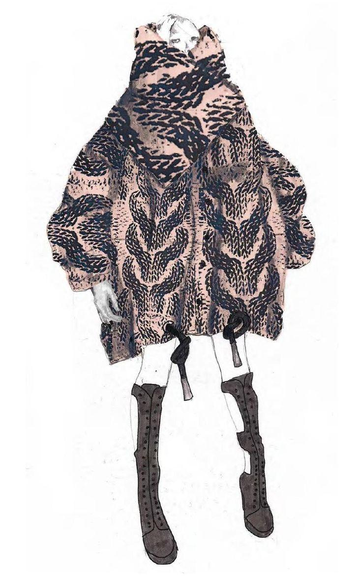 Fashion Sketchbook - sculptural knitwear illustration, fashion portfolio // Philli Wood