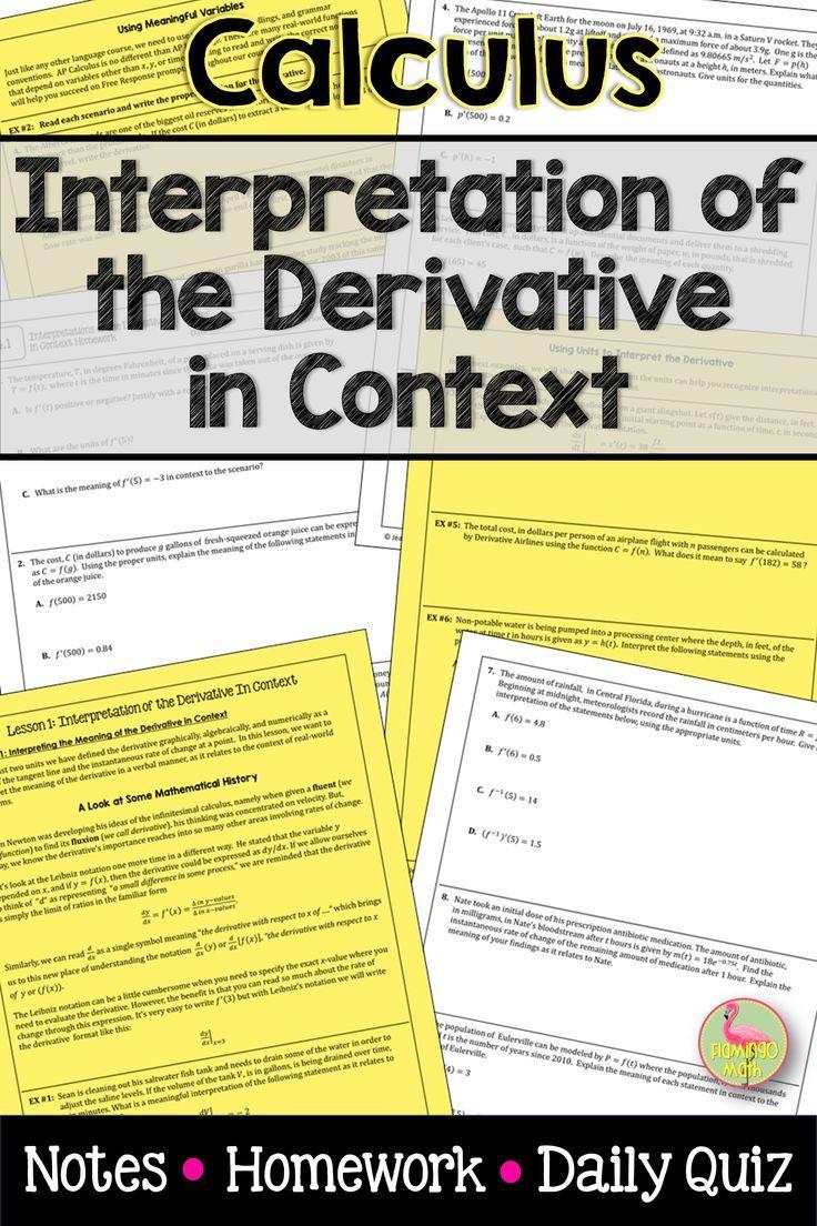 Calculus Interpretations Of The Derivative In Context Unit 4 Calculus Ap Calculus Ap Calculus Ab