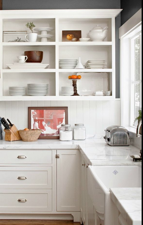 Kitchen Inspiration: Open Cabinets, Marble Counters