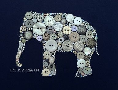 Button Art Elephant with buttons and Swarovski crystals!  Free worldwide shipping at http://www.bellepapiers.com with code: FREESHIPPING