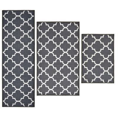 Madison Home 3 Piece Textured Lattice Grey Area Rug Set | Wayfair