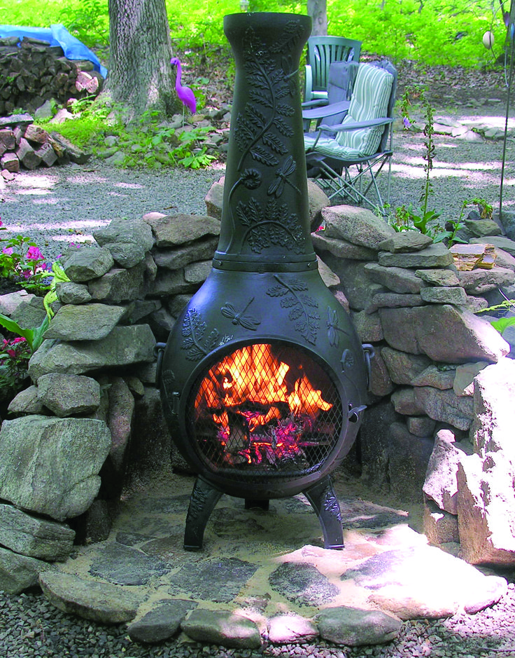 The Dragonfly Chiminea Includes: •Detailed Dragonfly and Fern Design •Safe Single Opening Traditional Chiminea •Non-Rusting Solid Cast Aluminum Alloy Body •Stainless Steel Mouth Screen, Bolts and Hardware •Matching Decorative Rain Lid •Removable Neck w/Grilling Insert •Carry Handles for Easy Arrangement •Cast Iron Grate to Support Fire •Hinged SS Mouth Spark Screen •Spark Arrestor Neck Insert $429.95 and Free Shipping in the Continental US. thebluerooster.com