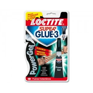 Blister de adhesivo Super Glue Power Flex de 3 grs. Extrafuerte que se adapta a materiales flexibles. Resiste a golpes y vibraciones.
