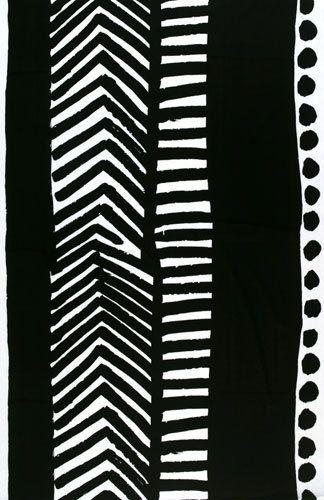 Käki black interior fabric by Marimekko   Curtain fabrics