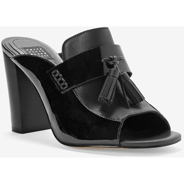White House Black Market Patent Leather Tassel Mules ($130) ❤ liked on Polyvore featuring shoes, black patent leather shoes, high heel mule shoes, slip-on shoes, slip on mules and high heel mules