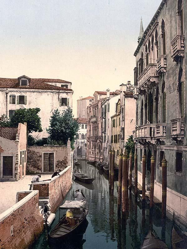 Three Bridges, Venice, Italy. This color photochrome print was made between 1890 and 1900 in Venice, Italy.