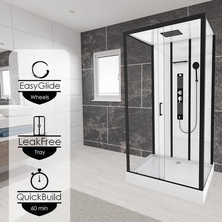 Insignia Monochrome Black Framed Rectangular Shower Cabin 1150 X 850 Shower Cabin Shower Enclosure Large Bathrooms