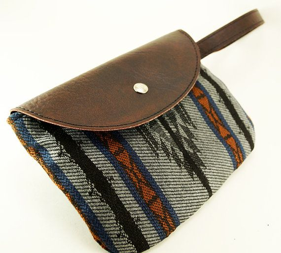 Navajo Sunset Clutch, Womens Wallet, Made of Vegan Leather and Southwestern Upholstery Fabric