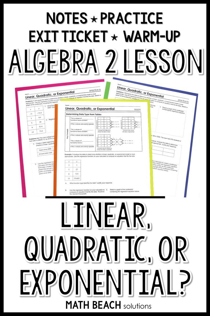 Linear Quadratic Or Exponential With Tables And R Squared Lesson Exponential Quadratics Algebra Lesson Plans