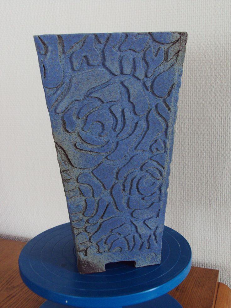 Stoneware vase, dry blue glaze