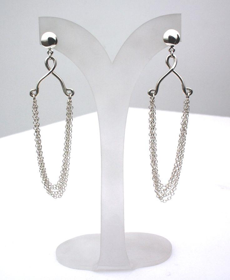 Aretes de cadenas colgantes de plata 950