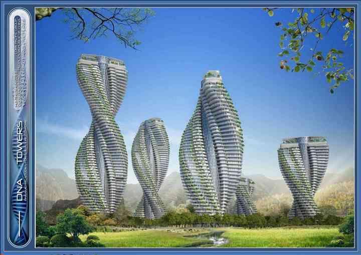 CITYTREES   Plus-energy DNA towers,   Yangzhou 2014,   China     INTERNATIONAL ARCHITECT: Vincent Callebaut Architectures, Paris