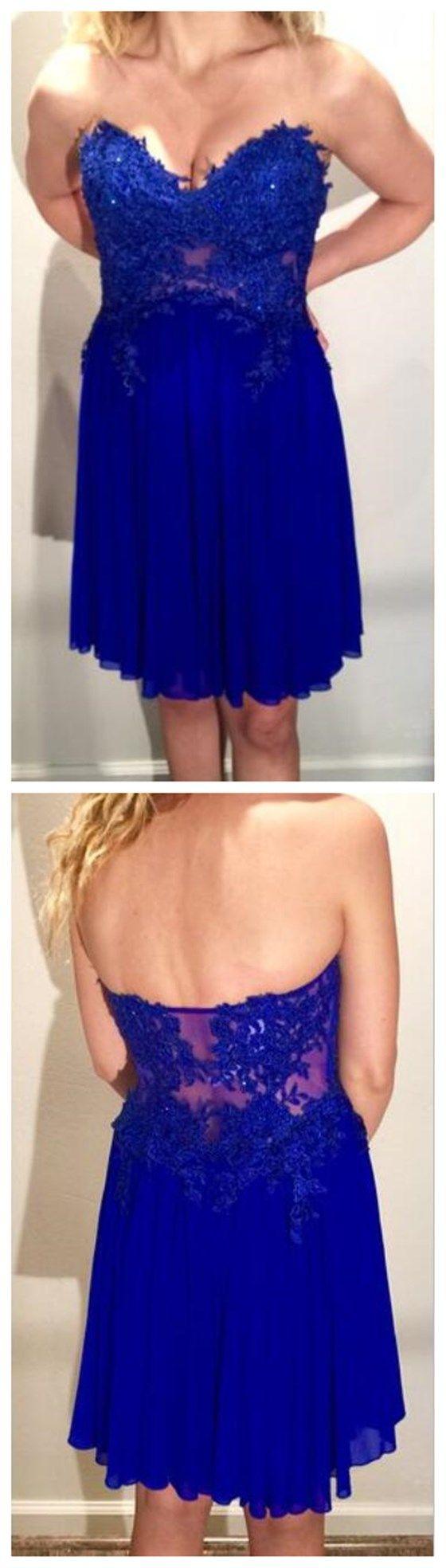 Royal Blue Homecoming Dress,Lace Ho