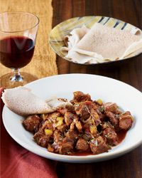 Ethiopian Spiced Lamb Stew Recipe from Food & Wine...Suggested Pairing: Peppery, olive-scented, medium-bodied Côtes du Rhône.