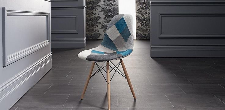 Blue patch seat with beech wood legs