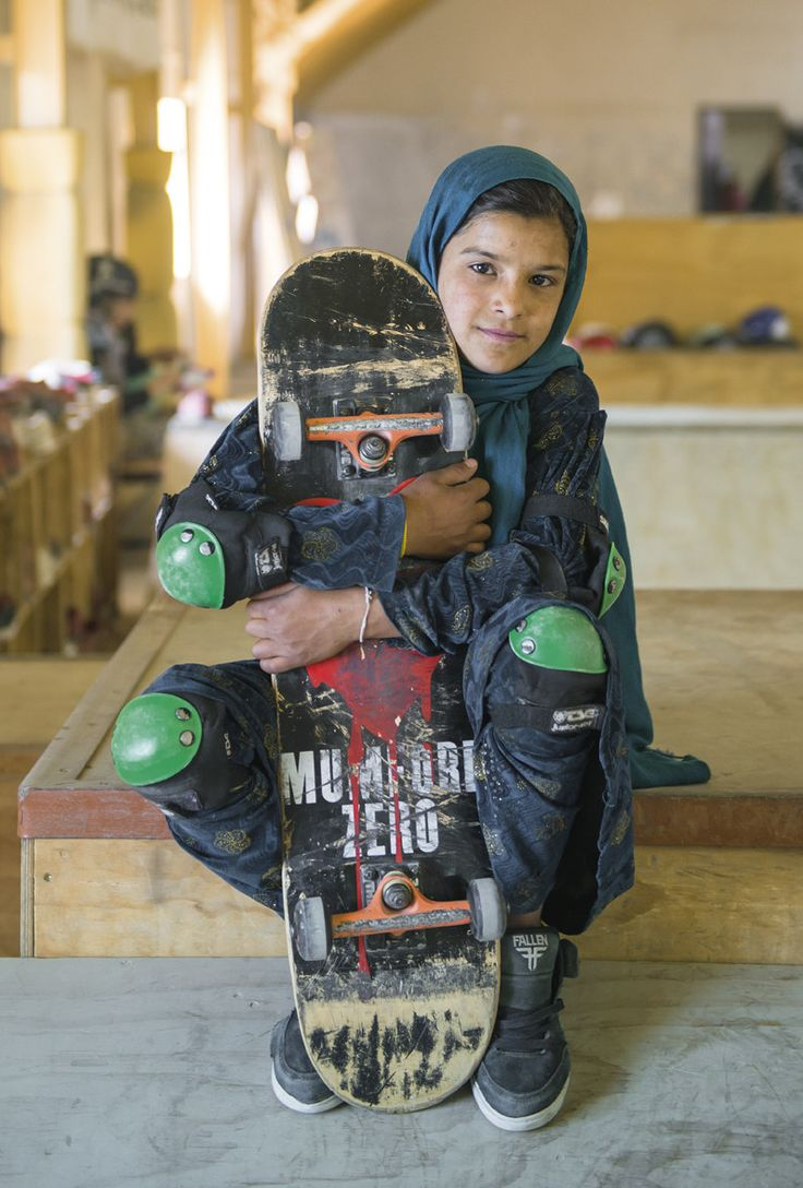 """British portrait photographer Jessica Fulford-Dobson traveled to Kabul, Afghanistan, to meet the remarkable young girls who are skateboarding to improve their lives and education.  Her photo series Skate Girls of Kabul is a collection of striking portraits that show these young girls in their place of comfort: the Skateistan skatepark where they are free to enjoy their childhood away from the dangers of war and poverty."""