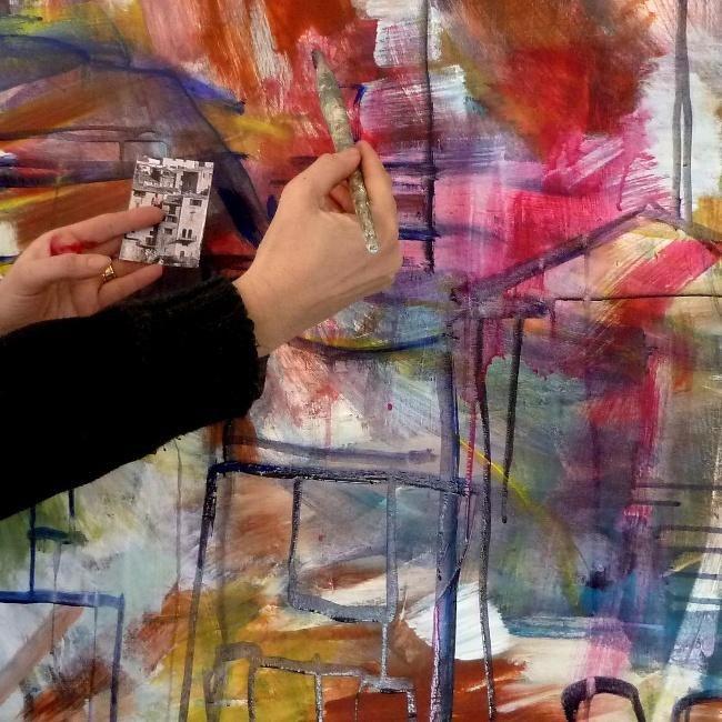 wepaint.dk kursus i akrylmaling, Husvild! Her maler vi streger for at finde rundt i maleriet!