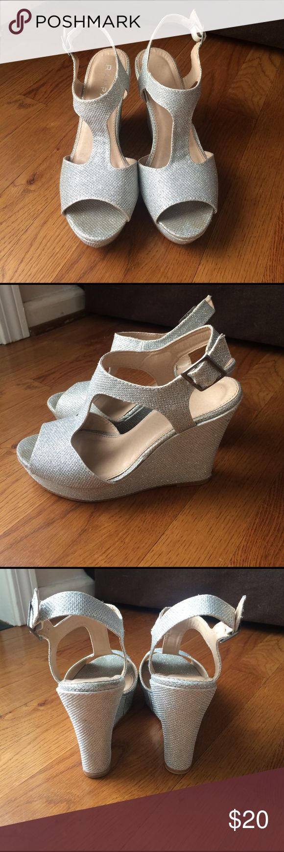 Rampage Candelas Sparkly Silver Wedges Sz 7 Rampage Silver Wedges- perfect for formals, prom, pageants. I have 2 daughters, so I have 2 pairs, both Sz 7. Great condition- both were worn once for school pageant. Rampage Shoes Heels