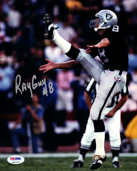 Ray Guy Autographed 8x10 Photo Oakland Raiders PSA/DNA ITP