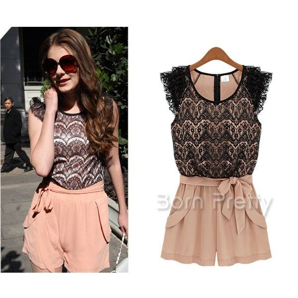 $29.54 Women's Cute Lace Splicing Bow Jumpsuits - BornPrettyStore.com