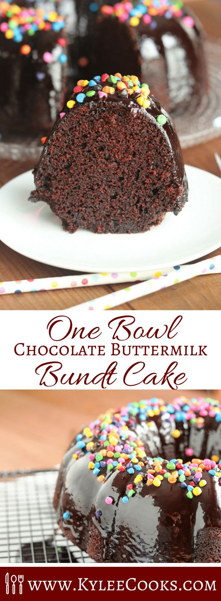 A one-bowl wonder, this easy but rich and decadent Chocolate Buttermilk Bundt Cake will satisfy chocolate lovers the world over!   #chocolate #bundt #cake #recipe #kyleecooks