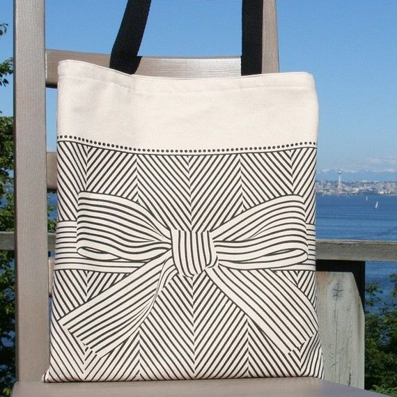 big bow canvas tote bag by soraam on Etsy, $24.00