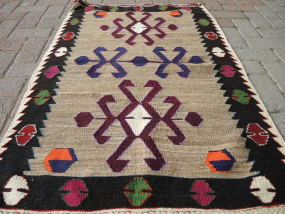 VINTAGE Turkish Diamond  Mut Kilim Rug Carpet by TurkishKilim, $125.00