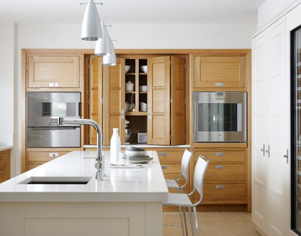 Bi folding cabinet doors so fun love how the cabinets are inset into the wall kitchens - Accordion kitchen cabinet doors ...