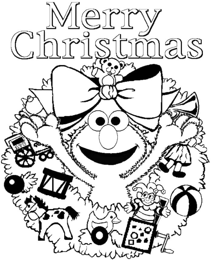 Elmo Sesame Street Merry Christmas Coloring Page