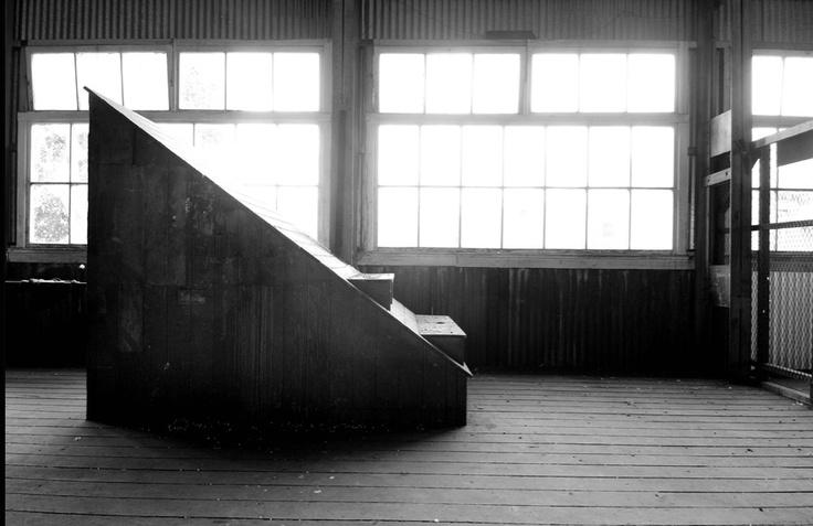 Black and white warehouse photo.