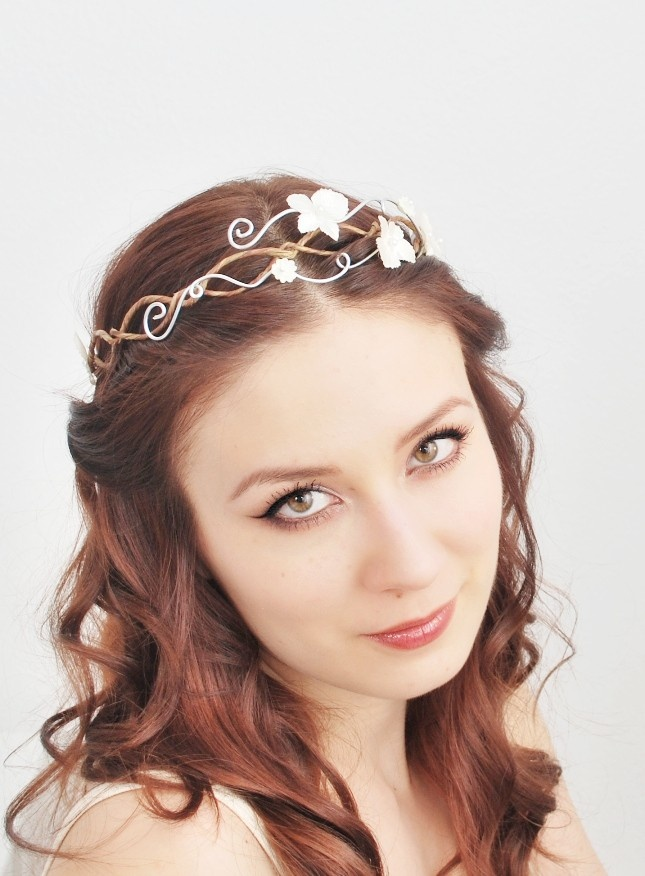 Ethereal bridal tiara, white hydrangea flower crown, hair circlet, wedding accessory - Adelaide's crown.