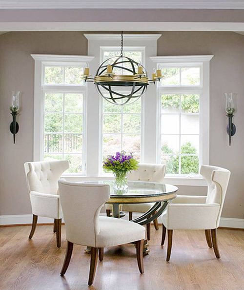 Elegant Grey Wall Paint Color Dining Room With Antique Pendant Light Above Glass Round Table And White Leather Chairs Also Using Wood Flooring Design Ideas
