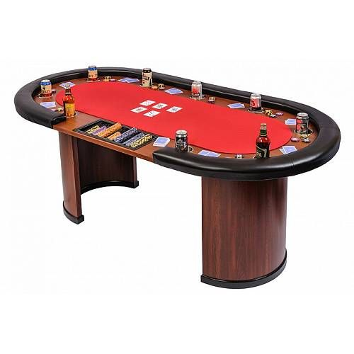 Riverboat Gaming 9 Person Casino Poker Table With Dealer Position Red Top Sb9 Red Poker Table Casino Poker Poker